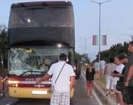 След жесток скандал вандал счупи предното стъкло на автобус